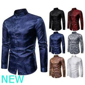 Luxury-Top-Shirt-Floral-Casual-Stylish-Slim-Fit-Long-Sleeve-Mens-Dress-Shirts