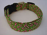 Charming Green W/ Red & White Christmas Candy Canes Dog Collar