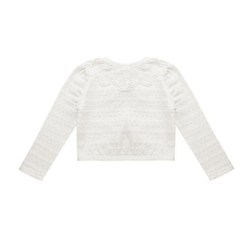Girls Faux Fur Bolero Shrug Cotton Lace Flower Cardigan Top Party SZ 1-12 Years