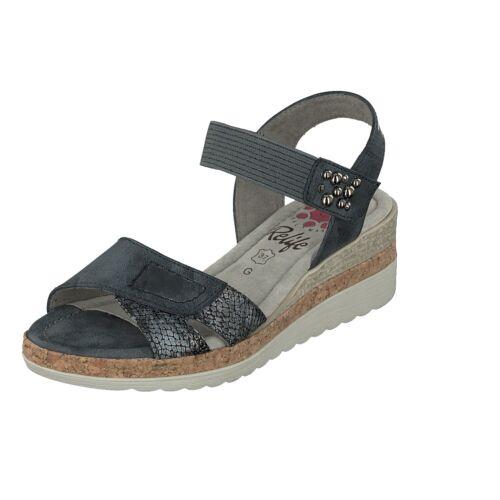 Relife Damen 9067-18701-10 Schuhe Sandale Wedge Sandalette Jeans Klettverschluss