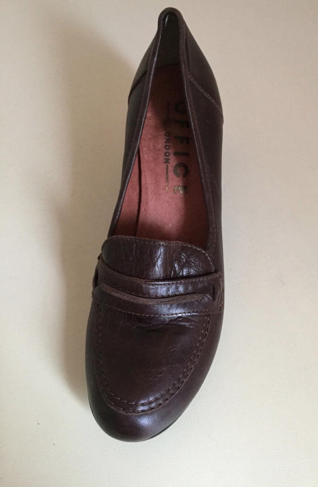 Noir Noir Noir cuir véritable bureau London Chaussures Taille 4 37 13c6d3