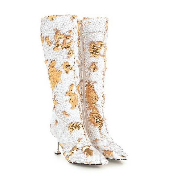Women Sequins Sexy Pointed Toe Stiletto High Heel Boots Knee High Party Club