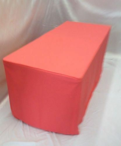 Orange 8/' ft Fitted Polyester Tablecloth Wedding Event Table Cover Coral Pink