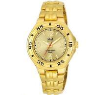 Q&Q F346-003Y Mens Gold Dive Dress Quartz Bracelet Watch New Citizen Movement