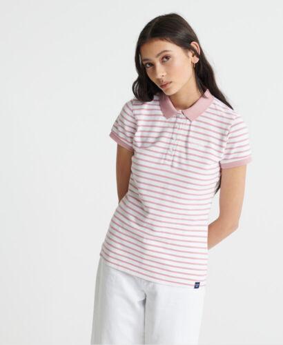 Haut Femme Superdry en Coton Organique à Rayures Polo Shirt