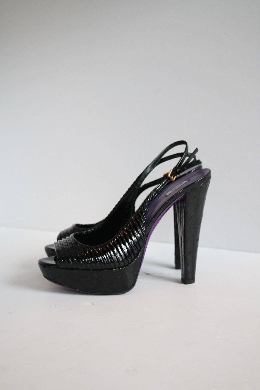 Miu Miu Slingback Cork Platform Patent Leather Heels, Size 5 1 2 UK 38 1 2 EU