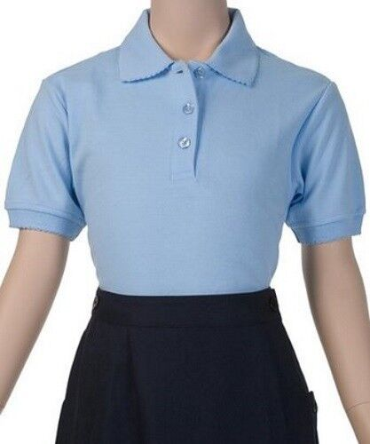 b7d894ec School Uniform Girls S/S Polo Blue French Toast Picot Collar Shirt 12 New