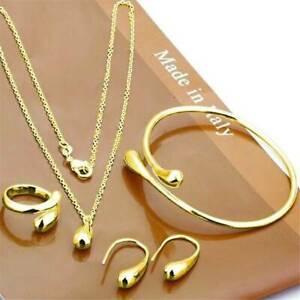 Elegant-Jewelry-Set-Women-925-Silver-Gold-Drop-Necklace-Bracelet-Earring-Rings