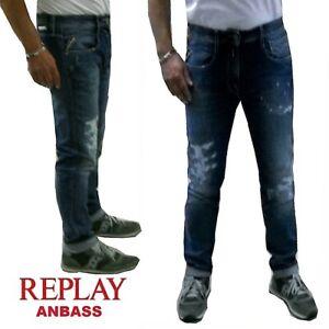 Jeans-REPLAY-da-uomo-ANBASS-pantalone-elasticizzato-W38-slim-destroyed-strappato