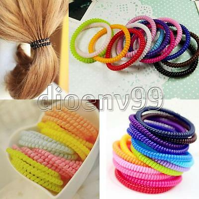 5/100 Elastic Wire Hair Phone Cord Tie Rope Band Ponytail Headband Wholesale