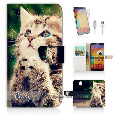 ( For Samsung Note 3 ) Wallet Case Cover! Pray Cat Pussy P0080