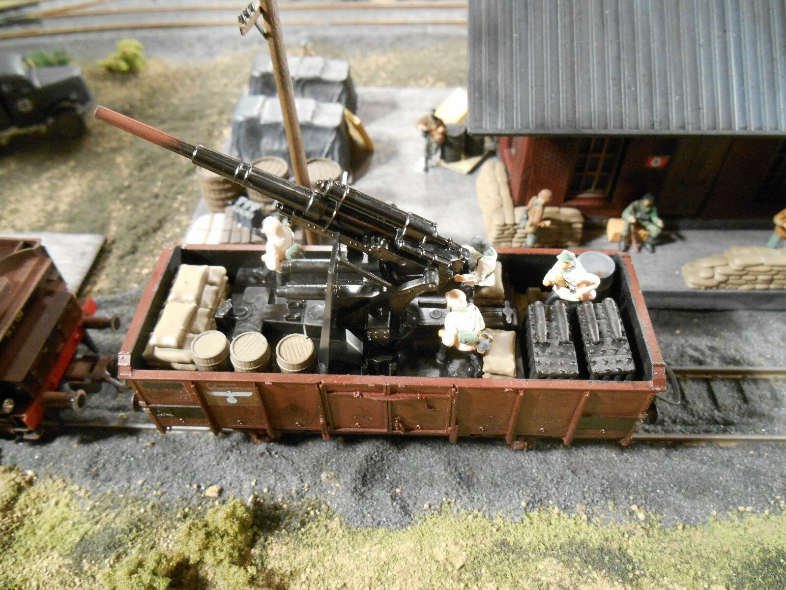 HO Roco Minitanks 9th Panzer Artillery Railway Car A780 Hand Painted