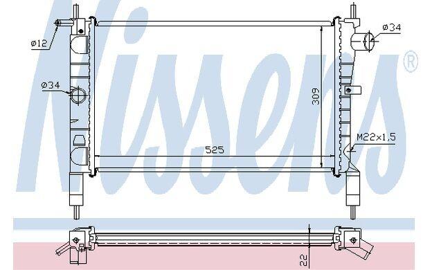 NISSENS Radiador, refrigeración del motor OPEL ASTRA VAUXHALL ASTRAVAN 632761