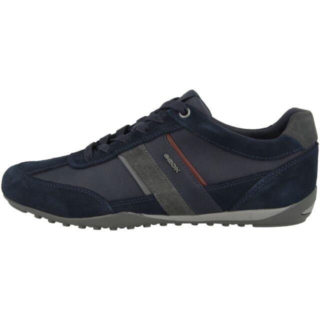 GEOX U Wells C Scarpe Uomo Sneaker IN Pelle Basse Blu Marino U52T5C022MECF47J