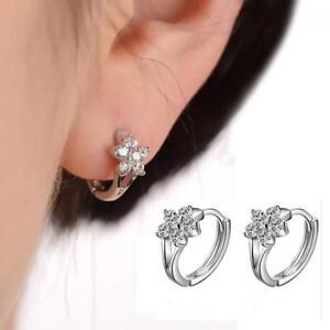 Mujer-Moda-Pendientes-Aretes-De-925-Plata-Cristal-Flor-Earrings-Regalo