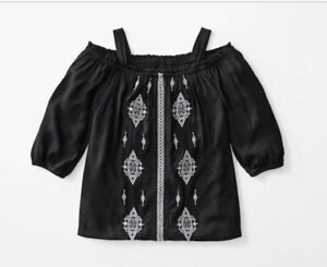 Girl S Art Class Cold Shoulder Embroidered Boho Top Black Nwt Small