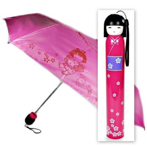 KOKESHI DOLL UMBRELLA Pink Folding w Hard Case Geisha Girl Japanese Lady China
