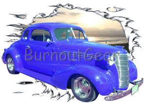 Details about 1938 Blue Chevy Coupe Custom Hot Rod Sun Set T-Shirt 38  Muscle Car Tees