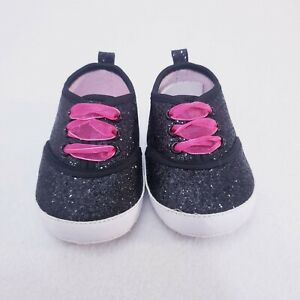 NWOT Brand New Laura Ashley Black Glitter Pink Lace-up Sneakers Baby Girls 6-12M