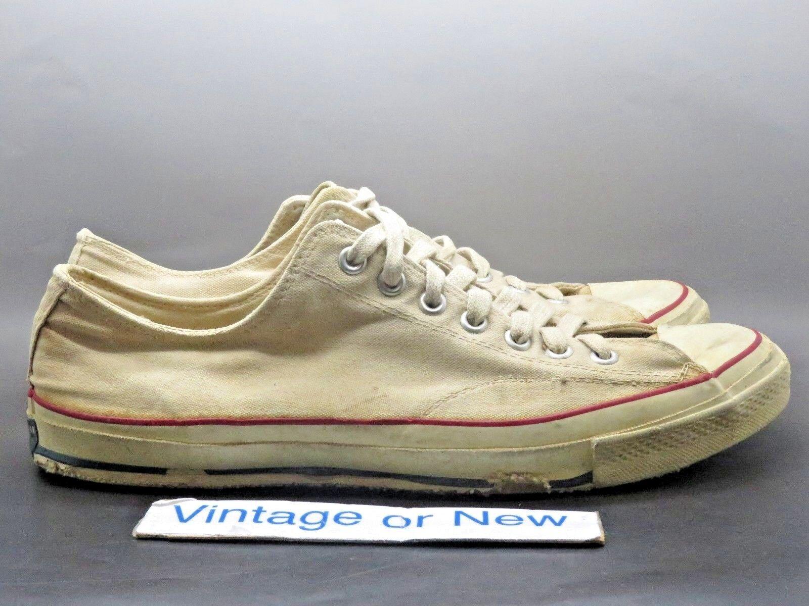 VTG Original 1960 60's Converse All Star Low OX White Canvas Blue Label sz 13