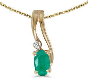 14k-Yellow-Gold-Oval-Emerald-And-Diamond-Wave-Pendant-Chain-NOT-included