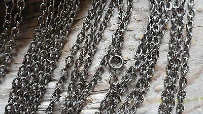 """Necklace Chains 24"""" Cable 3 mm Antique Oxidized Silver Color (pk 12) 0318"""