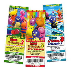 Detalles De Los Backyardigans Fiesta De Cumpleaños Invitación Billete 1 Personalizada Primera Tarjeta P1 Ver Título Original