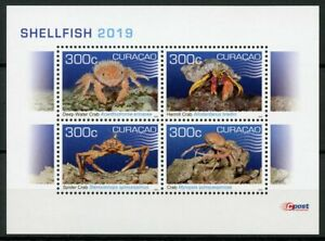 Curacao-2019-MNH-Shellfish-Hermit-Crab-4v-M-S-Crabs-Crustaceans-Marine-Stamps