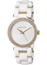 New Michael Kors Women's Two-Tone SST Gold White Acetate Watch MK4315