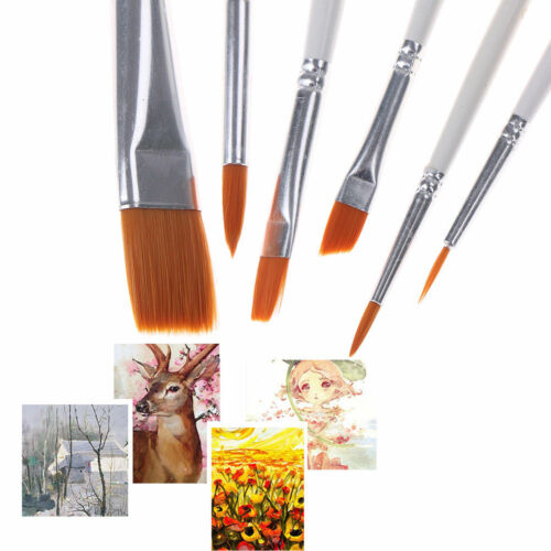 6 Piece Flat Tip Artists Brushes Paint Brush Set 6 Models Oil Watercolor Brushes