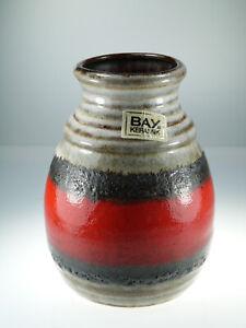 Bay-Keramik-Vase-West-Germany-Pottery-630-14-Fat-Lava-Rot-Braun-ca-14cm