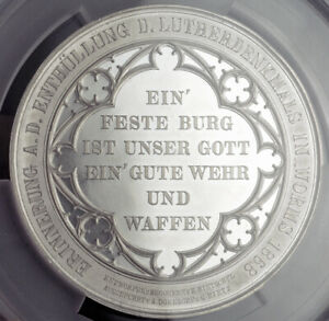 1868-Rhineland-Paletinate-Worms-034-Luther-Monument-034-Medal-60mm-PCGS-SP62