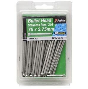 Paslode-BULLET-HEAD-NAILS-75x3-75mm-34-Pcs-316-Grade-Stainless-Steel-AUS-Brand