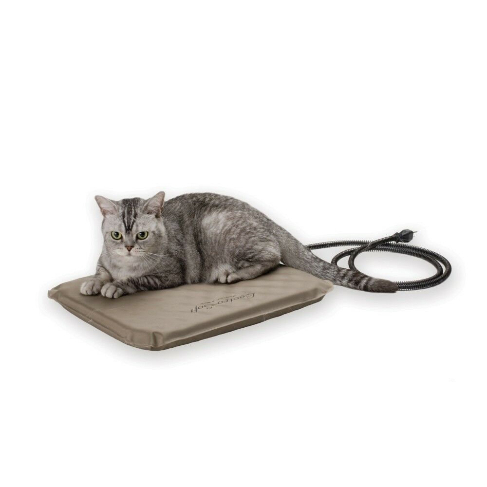 K&H Pet Products Lectro-Soft Heated Outdoor Bed Small Tan 14  x 18  x 1.5