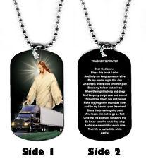DOG TAG NECKLACE - Trucker Truck Driver Prayer Transportation God Jesus Amen