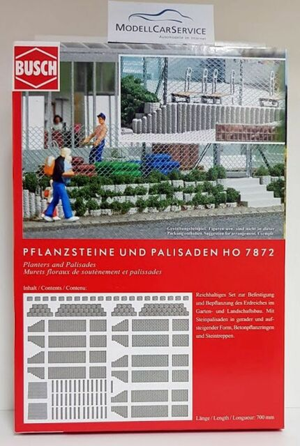 Busch 1/87 (H0): 7872 Flower Pots And Palisades, Gray