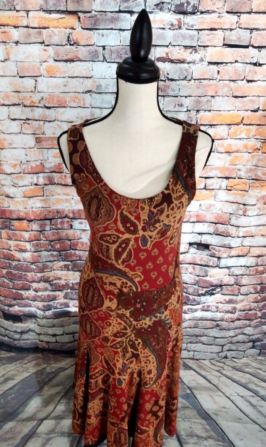 NWT LRL Ralph Lauren Sleeveless braun Floral Cotton Blend Casual Dress Sz XS NEW