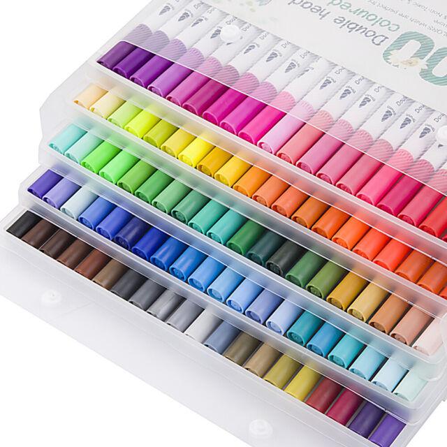 12/24/36/48/60/80/100 Color Dual Tip Marker Pen Set Graphic Art Sketch  Brush US