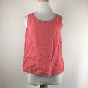 Flax-Women-039-s-Coral-Scoopneck-Sleeveless-100-Linen-Blouse-Shirt-Size-Small
