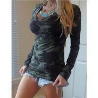 Womens Fashion V-Neck Camo Long Sleeve T-Shirt Bodycon Casual Party Blouse Tops