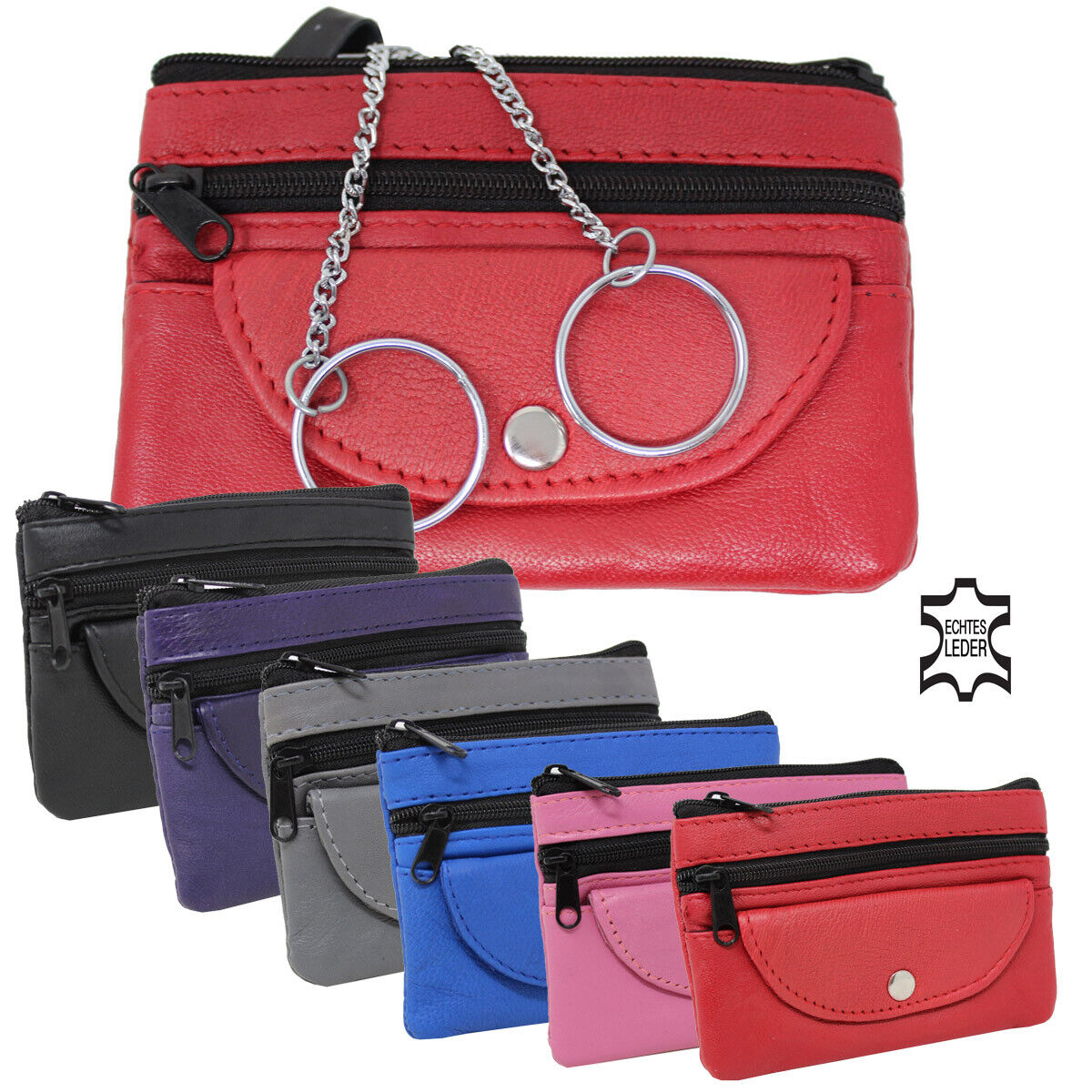 Leather Key Pouch Key Case 2 Key Rings Car Cover Case