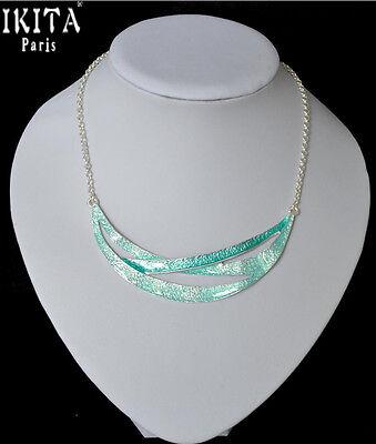 Luxus Statement Kette IKITA Paris Halskette Collier Emaille Versilbert Türkis