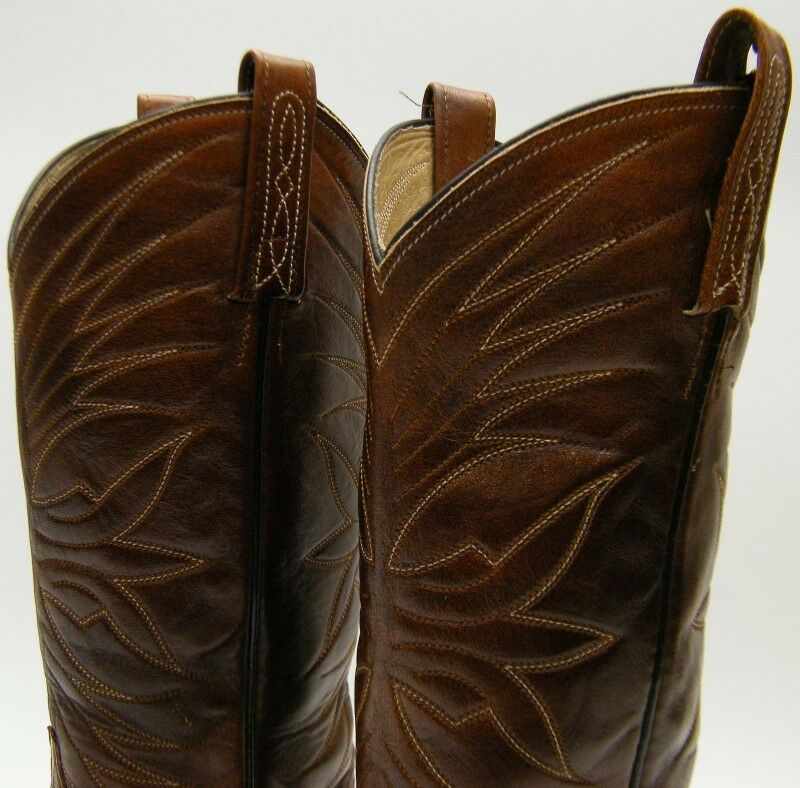 WOMEN VTG DAN POST GENUINE REAL COWBOY EEL SKIN BRN TALL COWBOY REAL WESTERN Stiefel 5.51/2 C d392eb
