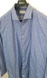 ROBERT-GRAHAM-Micro-Floral-Check-Blue-Long-Sleeve-Button-SZ-50-20-36-37-Tall