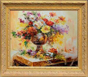 Gold Wooden Framed Oil Painting Signed E Colton, Texture Still Life Flowers Vase