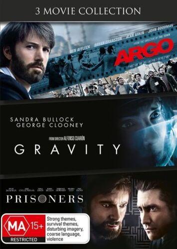 1 of 1 - Argo / Gravity / Prisoners (DVD, 2014, 3-Disc Set) -- Free Postage --