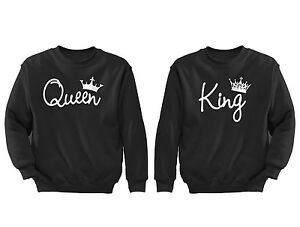 2-FOR-1-SALE-Queen-King-Couples-matching-soft-Black-Unisex-Sweatshirt-S-6X