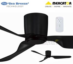 NEW-MERCATOR-CITY-BLACK-35w-DC-CEILING-FAN-WITH-REMOTE-3-BLADE-52-034-LOW-PROFILE