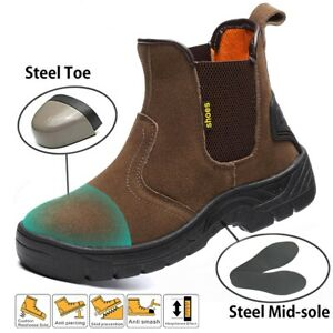Men-039-s-Anti-Puncture-Safety-Work-Boots-Steel-Toe-Cap-Leather-Shoes-Slip-Resistant