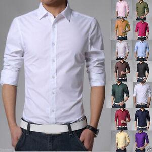 Fashion Men's Casual Shirts Business Dress T-shirt Long Sleeve Slim Fit Tops Tee